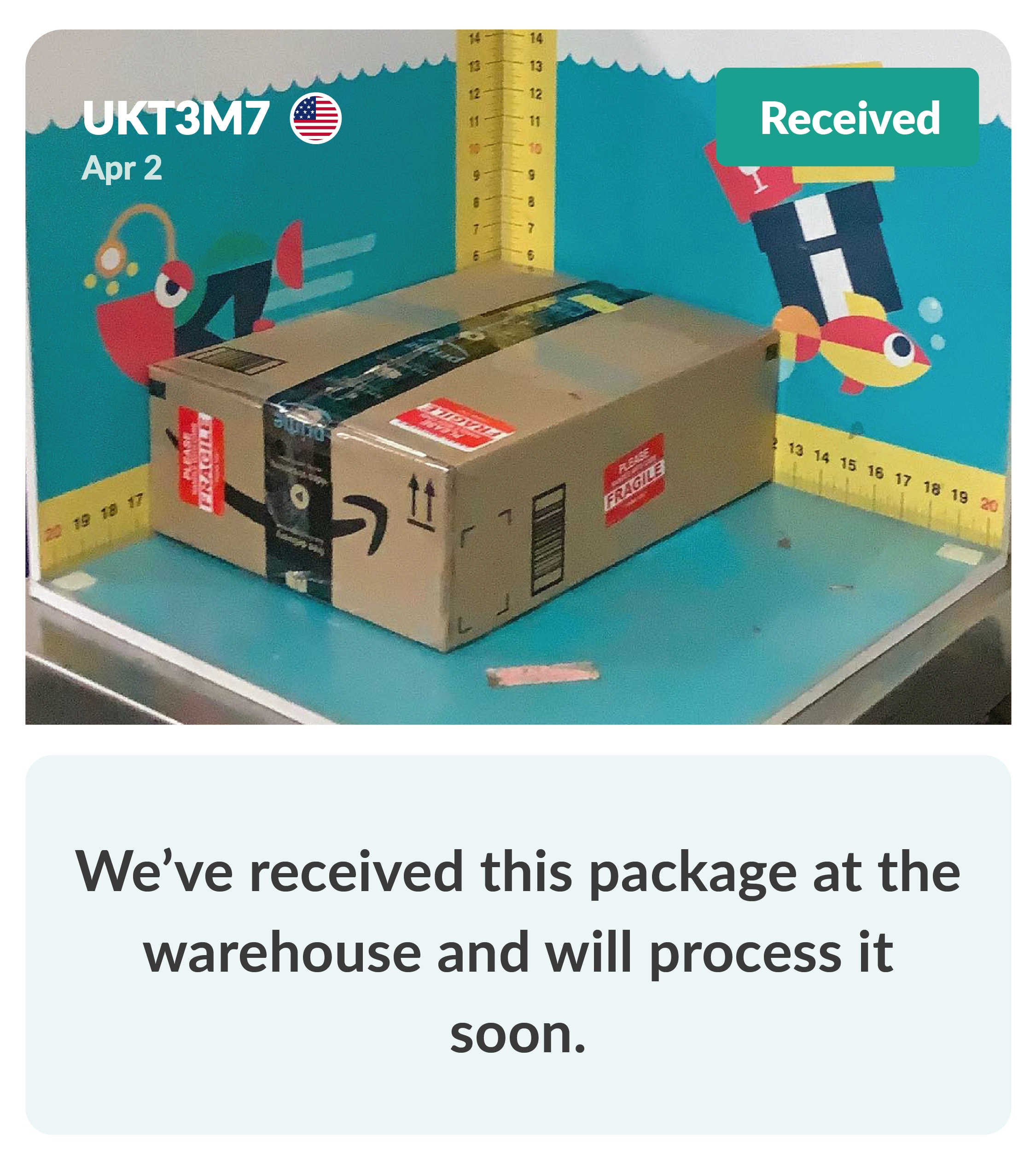 Package arrival in warehouse
