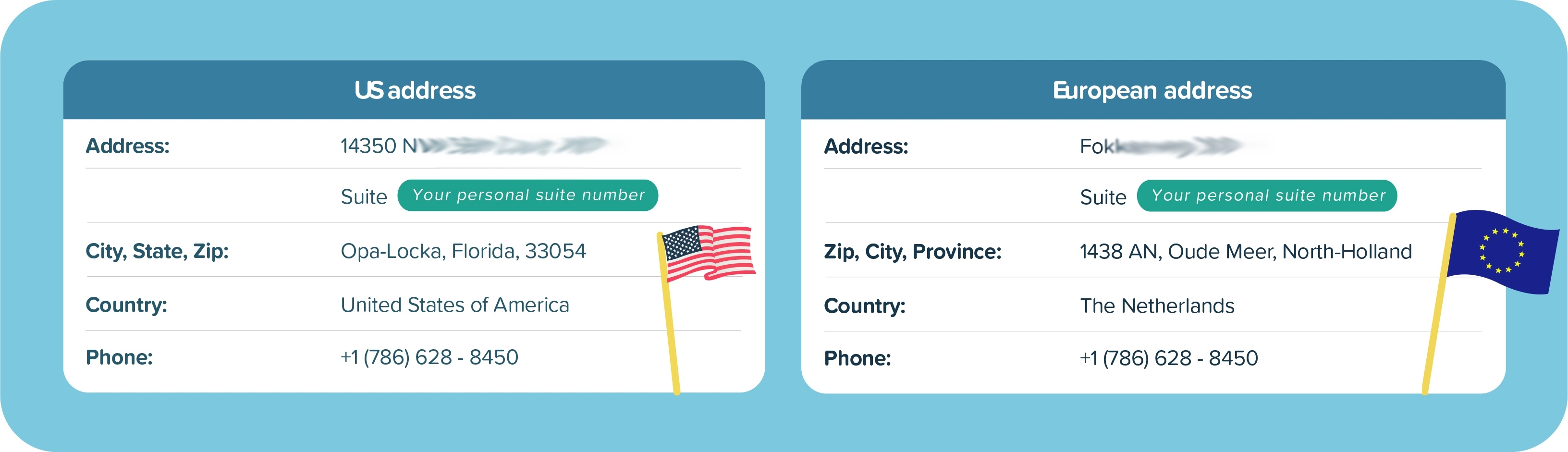 Personal US and European Address